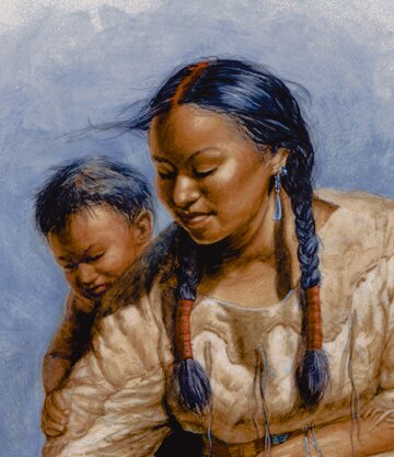 Sacagawea facts: sacagawea with son