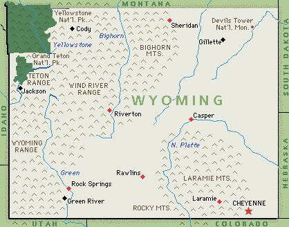 Wyoming facts: map