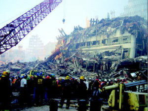 """WTC buildings' steel constructions after crashed"""